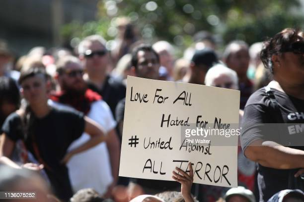 A large crowd assembles in Aotea Square for a memorial to remember the victims of the Christchurch mosque shootings on March 16 2019 in Auckland New...