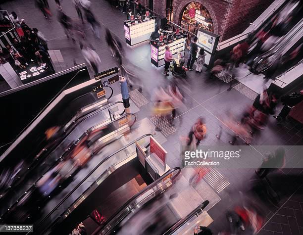 Large crowd (motion blurred) at Melbourne Central