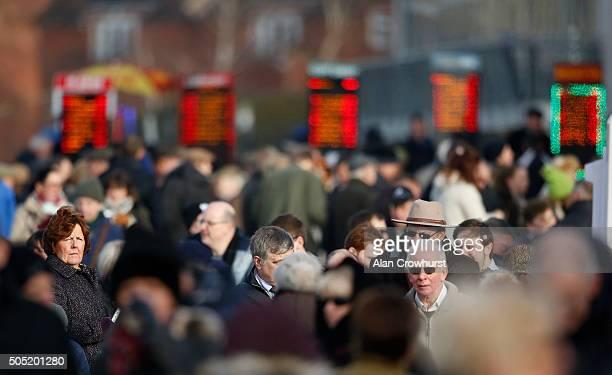A large crowd at Warwick racecourse on January 16 2016 in Warwick England