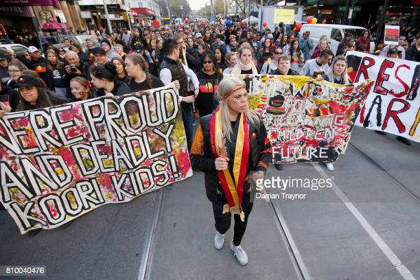 A large crowd attend the 2017 NAIDOC March on July 7 2017 in Melbourne Australia The march was organised to call for a day of mourning and to bring...