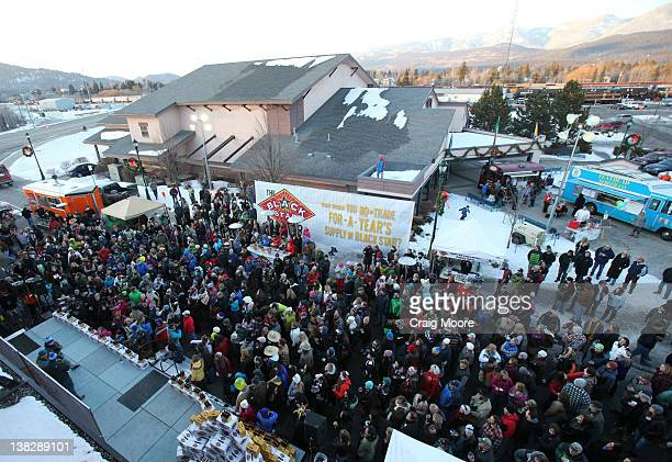 A large crowd attends the Black Star Beer Barter on February 4 2012 in Whitefish Montana