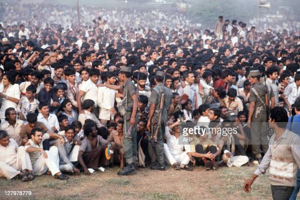 A large crowd attends the cremation ceremony of the slain Indian Prime Minister Indira Gandhi on November 03 1984 in ShantiVan Indian Prime Minister...