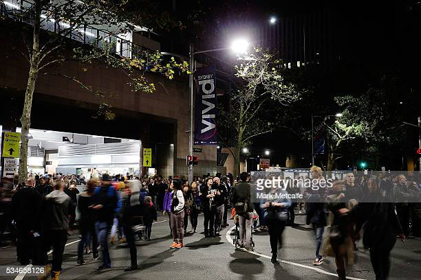 A large crowd attends Vivid Sydney on May 27 2016 in Sydney Australia Vivid Sydney is an annual festival that features light sculptures and...