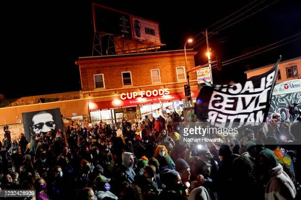 Large crowd celebrates in George Floyd Square following the verdict in the Derek Chauvin trial on April 20, 2021 in Minneapolis, Minnesota. The...