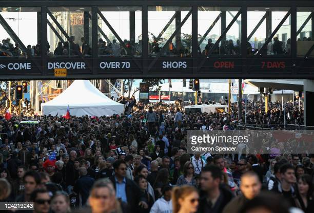 Large crowd enjoys the atmosphere at the Rugby World Cup Live Site during the IRB 2011 Rugby World Cup Opening Ceremony at Auckland Harbour on...