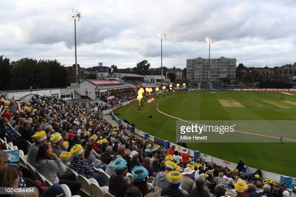 Large crowd enjoys the Final between Loughborough Lightning and Surrey Stars on Finals Day Kia Super League 2018 at The 1st Central County Ground on...