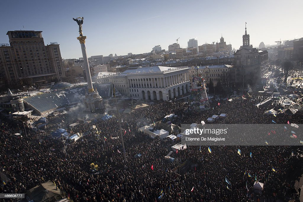 Large crowd gather on Maidan Square to listen to speeches from the opposition leaders on February 2, 2014 in Kiev, Ukraine. Thousands of protesters attended a rally in Kiev's Maidan square demanding that the president step down. Ukraine's Prime Minister Mykola Azarov and his cabinet resigned five-days ago.