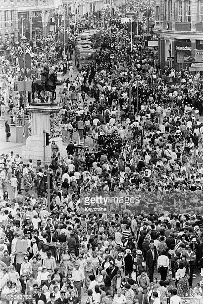 A large crowd gathered in Trafalgar Square to see Prince Charles and Lady Diana Spencers wedding procession 29th July 1981