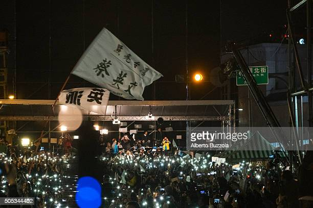A large crowd gathered to celebrate newly elected Taiwan president Miss Tsai Ing Wen in central Taipei turn all their mobile phone on to celebrate...
