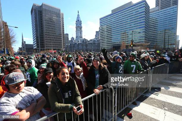 A large crowd gathers at Love Park during the Philadelphia Eagles Super Bowl Victory Parade on February 8 2018 in Philadelphia Pennsylvania