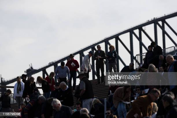 A large crowd gathers at the Memorial for Bob Hawke at the Sydney Opera House on June 14 2019 in Sydney Australia Robert James Lee Hawke AC also...