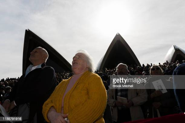 A large crowd gathers at the Sydney Opera House on June 14 2019 in Sydney Australia Robert James Lee Hawke AC also known as Bob Hawke was Prime...