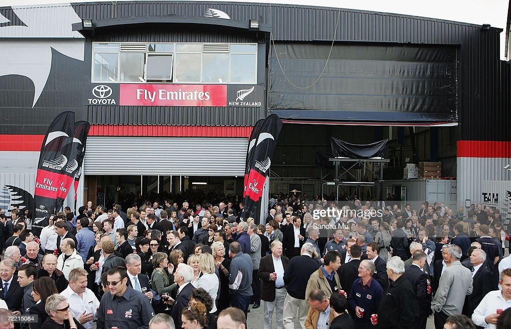 A large crowd gathers at the Team New Zealand base for the launch of the Team New Zealand America's Cup boat at Viaduct Harbour on October 19, 2006 in Auckland, New Zealand.