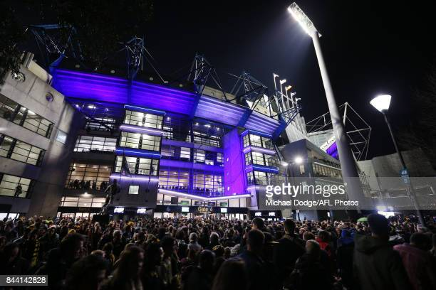 A large crowd gathers during the AFL Second Qualifying Final Match between the Geelong Cats and the Richmond Tigers at Melbourne Cricket Ground on...