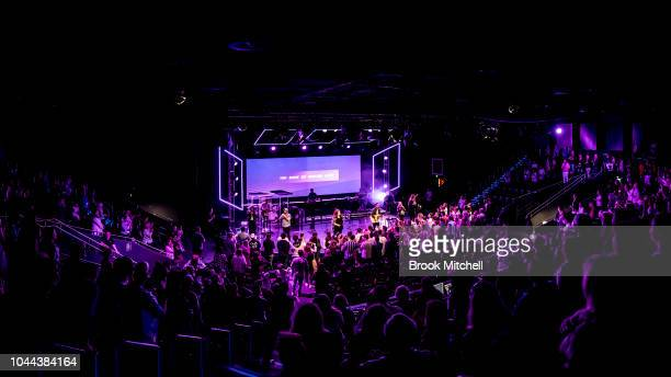 A large crowd gathers for worship at Horizon Church on September 29 2018 in Sydney Australia Horizon Church is a Pentecostal Christian church based...