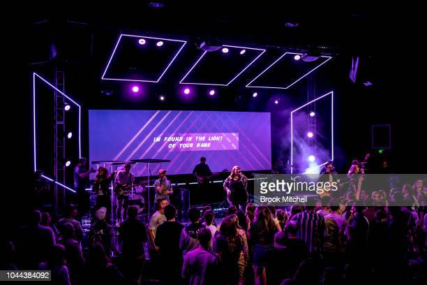A large crowd gathers inside the Horizon Church to worship on September 29 2018 in Sydney Australia Horizon Church is a Pentecostal Christian church...