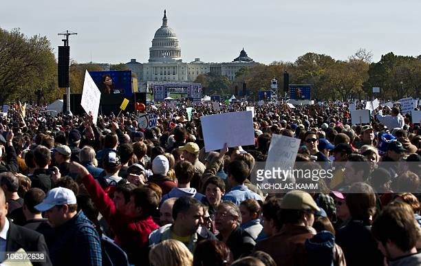 A large crowd gathers on the National Mall in Washington DC on October 30 2010 for television satirists Jon Stewart's and Stephen Colbert's Rally to...