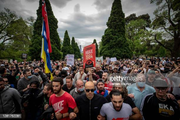 A large crowd gathers to protest at the Shrine of Remembrance on October 23 2020 in Melbourne Australia Protesters are calling on the end to lockdown...