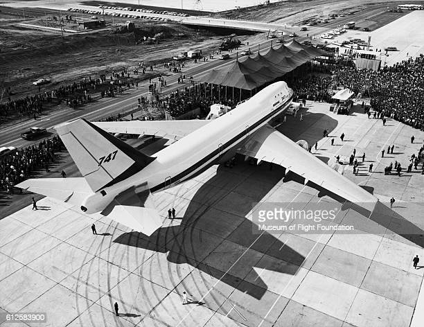 A large crowd gathers to take a look at the new Boeing 747100 Jumbo Jet during rollout at Paine Field in Everett Washington on September 30 1968 |...