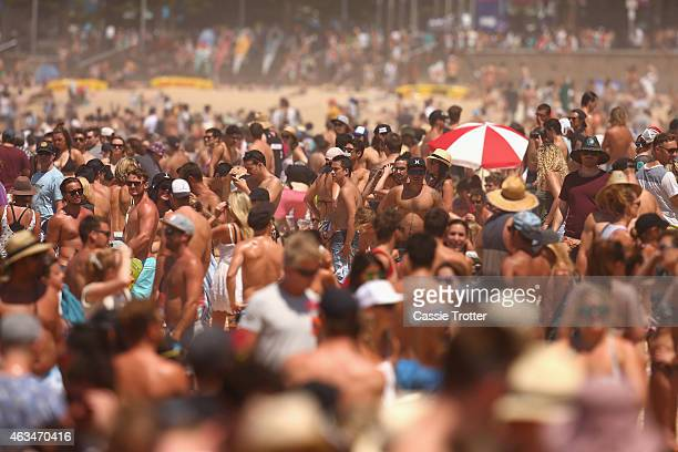 A large crowd gathers to watch the finals of the Australian Open of Surfing at Manly Beach on February 15 2015 in Sydney Australia