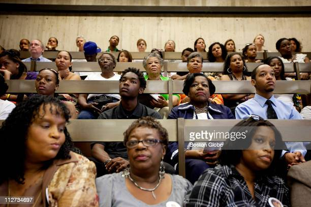 A large crowd including many people who stood gathered for a hearing chaired by City Councilor Ayanna Pressley devoted to hearing directly from the...