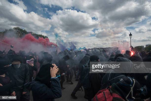 A large crowd of Black Blocs in the Streets of Paris durin gthe May Day demonstration Thousands of persons between 20 000 and 55 000 have gathered in...