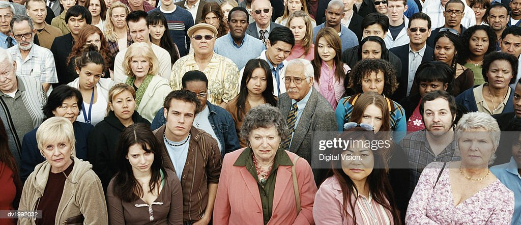Large Crowd of Displeased People : Stock Photo