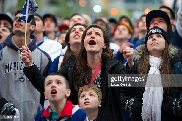 A large crowd of Maple Leaf fans gathered outside of the ACC to watch game 6 of the TorontoBoston series Sunday night