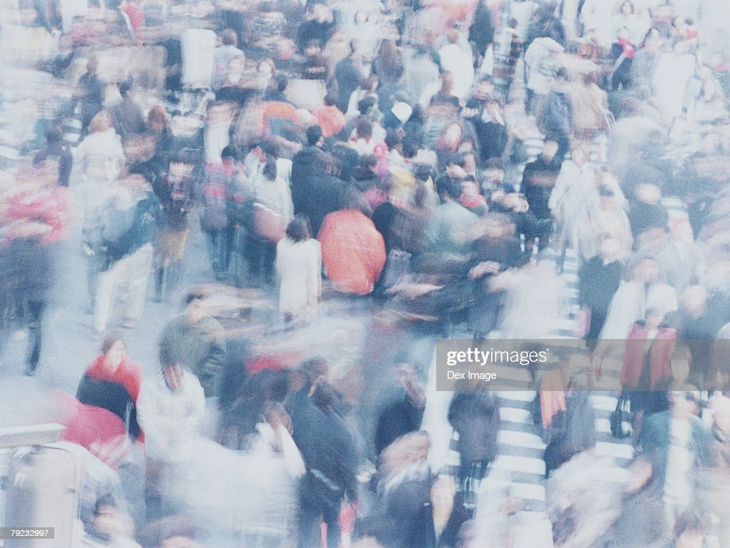 Large crowd of people crossing city street, Shibuya, Tokyo, Japan : Stock Photo