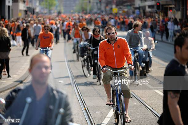 Large crowd of people in Amsterdam on Queen's day