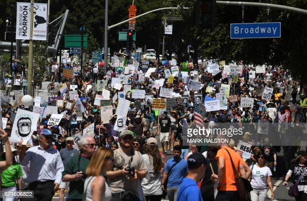 A large crowd of protesters take part in the March for Science in Los Angeles California on April 22 2017 Thousands of people joined a global March...