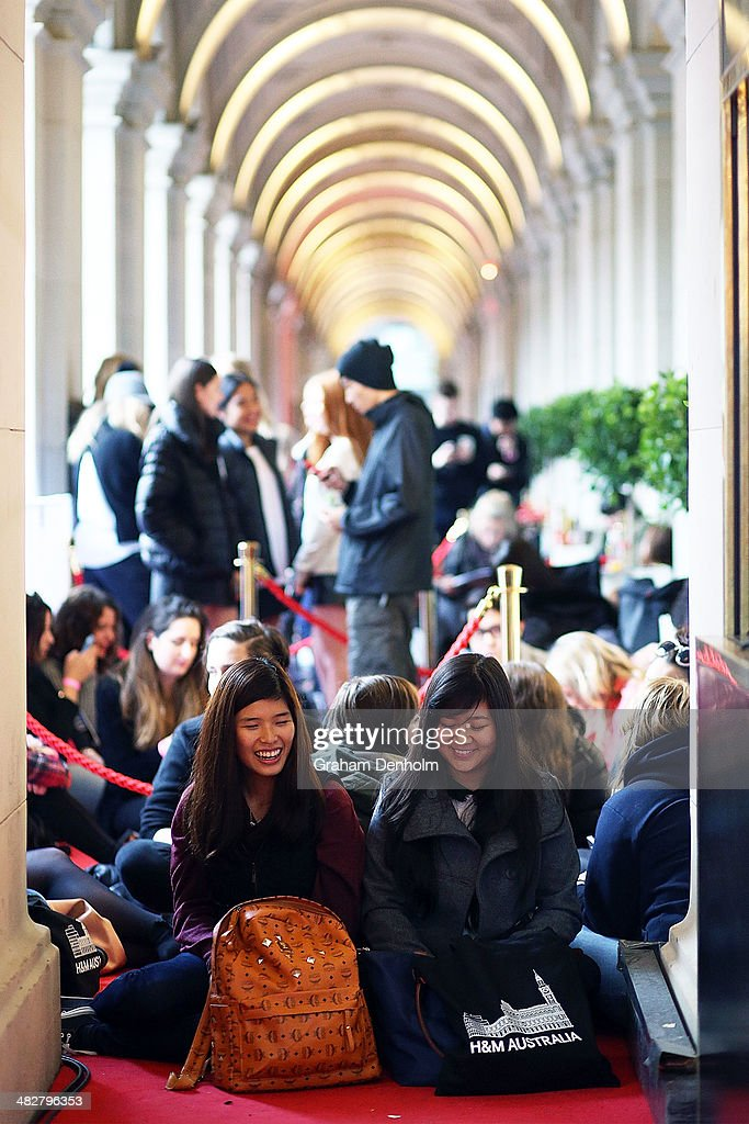 A large crowd of shoppers are seen queuing outside the store at the opening of the first H&M Australia store at the GPO on April 5, 2014 in Melbourne, Australia.