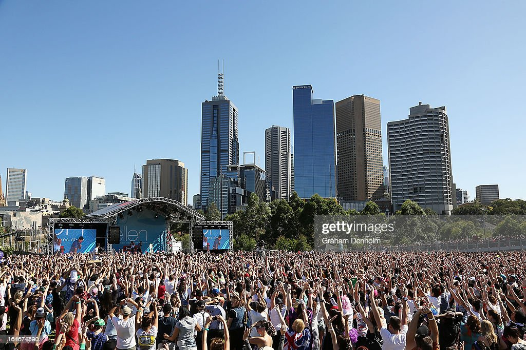 A large crowd packs in to see Ellen DeGeneres appearing on stage during the filming of her television show at Birrarung Marr on March 26, 2013 in Melbourne, Australia. DeGeneres is in Australia to film segments for her TV show, 'Ellen'.