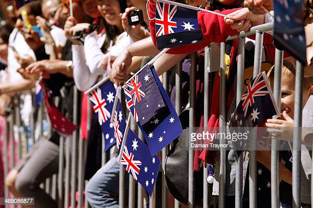 Large crowd turns out to watch the Australia Day parade on January 26, 2014 in Melbourne, Australia.