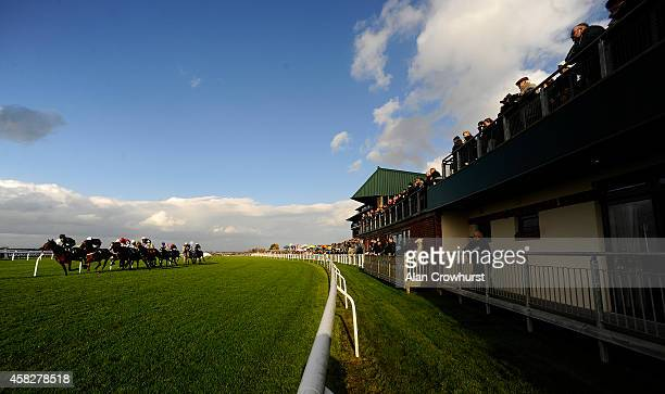 A large crowd watch the action as the runners pass at Carlisle racecourse on November 02 2014 in Carlisle England