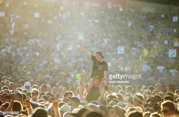 A large crowd watch The Smith Street Band during Splendour in the Grass 2017 on July 23 2017 in Byron Bay Australia