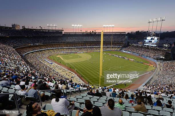 Large crowd watches Juventus take on Los Angeles Galaxy during the 2013 Guinness International Champions Cup at Dodger Stadium on August 3, 2013 in...