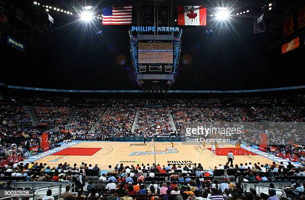 A large crowd watches the game between the Atlanta Dream and the Los Angeles Sparks at Philips Arena on August 23 2009 in Atlanta Georgia NOTE TO...