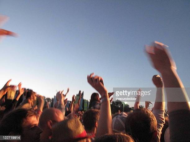 large crowd with arms in air at music festival - 芸能イベント ストックフォトと画像