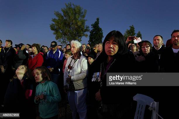 Large crowds attend the Anzac Hill Dawn Service on April 25 2014 in Alice Springs Australia The Ghan commemorates the sacrifices of Australian...