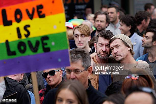 Large crowds gather at Taylor Square in support of Marriage Equality on May 31 2015 in Sydney Australia They are specifically calling on the...