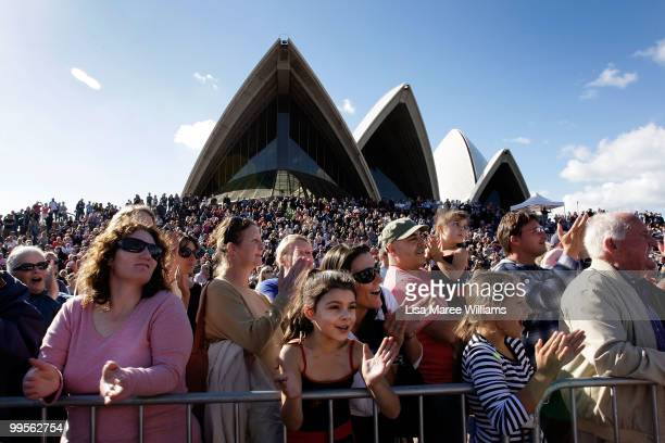 Large crowds line the Sydney Opera House forecourt for the arrival of teen sailor Jessica Watson following her world record attempt to become the...