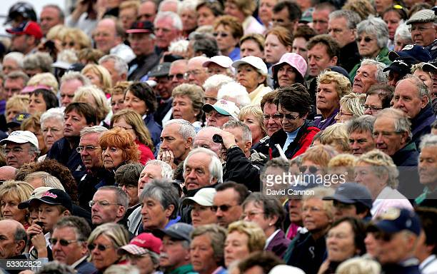 Large crowds look on at the 18th during the second round of the Weetabix Ladies British Open at the Royal Birkdale Golf Club on July 29 2005 in...