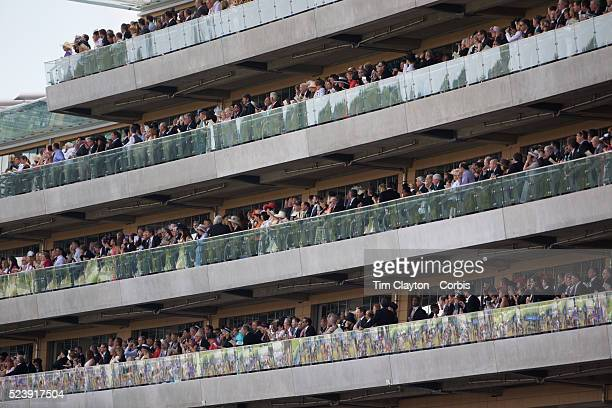 'Large crowds watch the races during the race meeting at Royal Ascot Race Course Royal Ascot is one of the most famous race meetings in the world...