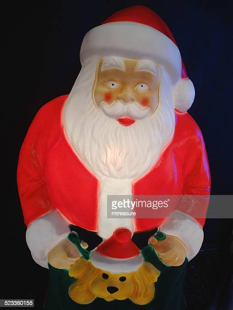 large cuddly illuminated santa claus father christmas character light - cartoon santa claus stock photos and pictures