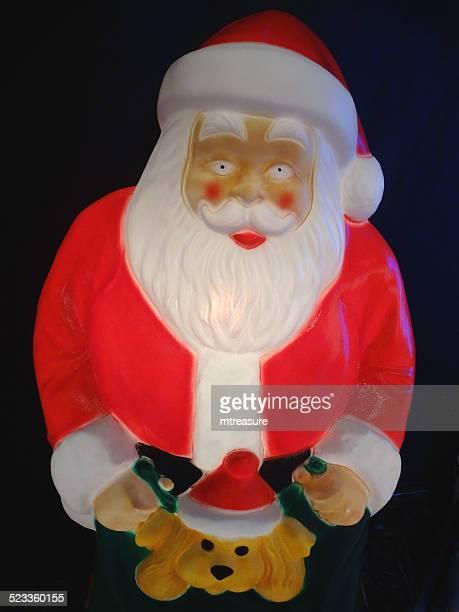 gran cuddly tamaño de historieta illimunated santa claus/padre; navidad; plástico; luz; invierno; display - cartoon santa claus fotografías e imágenes de stock