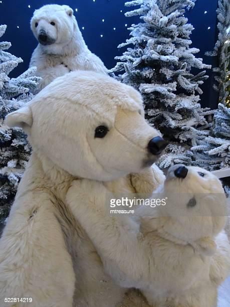 Large cuddly life-size cartoon / fluffy toy polar bears, baby-polar-bear, winter-display