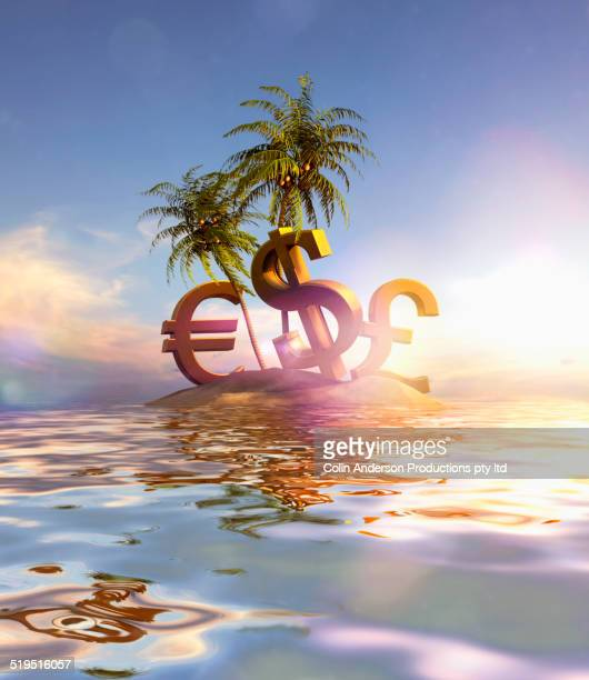 Large currency signs beached on tropical island