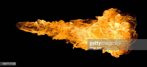 large deep fireball against a black background - flame stock pictures, royalty-free photos & images