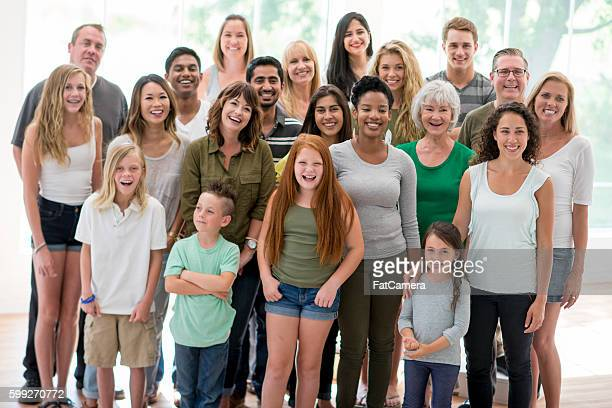 large diverse family - family reunion stock pictures, royalty-free photos & images